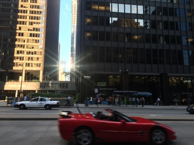 cruising in a convertible on Michigan Avenue